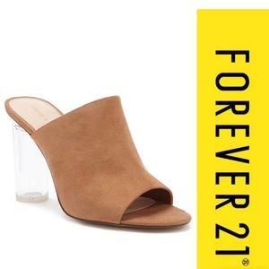 Faux suede lucite heels